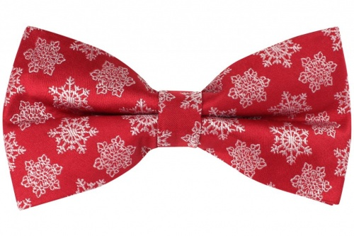Red Pre-Tied Bow Tie With White Festive Snowflake Ice Crystal Design